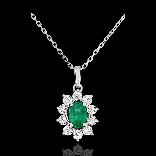 Collier Eternel Edelweiss - Marguerite Illusion - émeraude et diamants - or blanc 9 carats