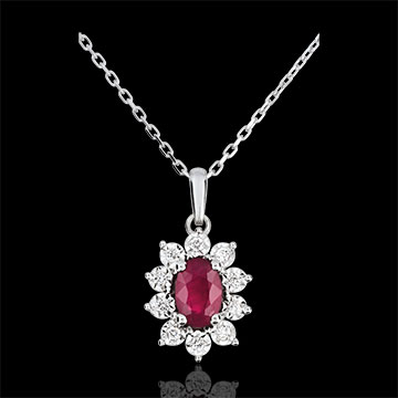 Collier Eternel Edelweiss - Marguerite Illusion - rubis et diamants - or blanc 9 carats