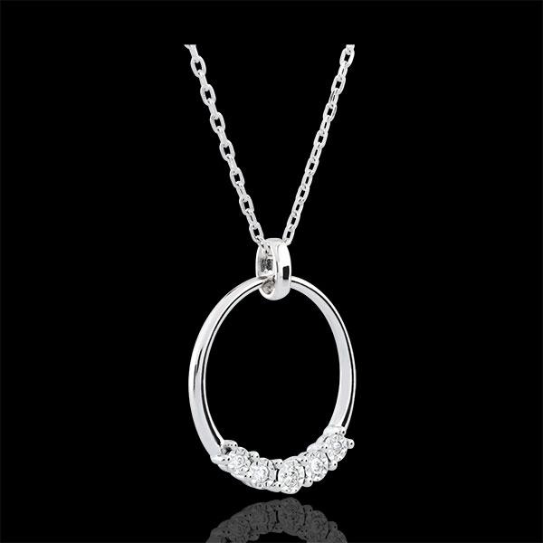 Collier Eternita - 5 diamants - or blanc 9 carats
