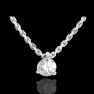 Collier solitaire or blanc 18 carats - 0.31 carat