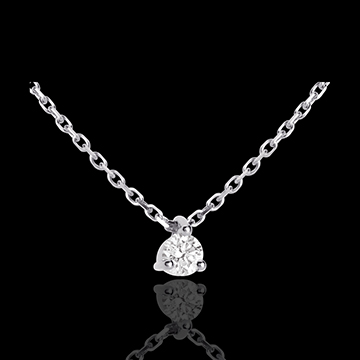 Collier solitaire or blanc 18 carats - 0.11 carat