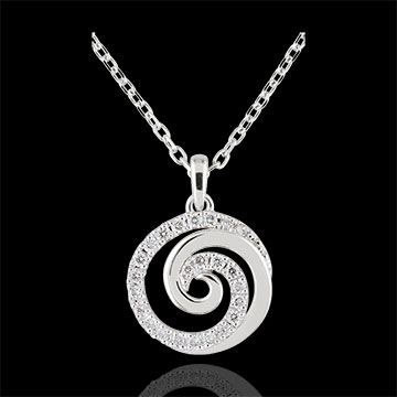 Collier Spirale d\u0027amour or blanc 9 carats