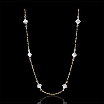 Collier Génèse - Diamants Bruts - or blanc et or jaune 9 carats