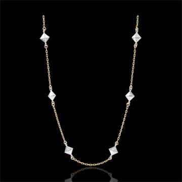 Collier Génèse - Diamants Bruts - or blanc et or jaune 9 carats