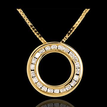 Collier pendule or jaune 18 carats pavée - 22 diamants