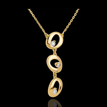 Collier Pampilles Or Jaune 18 Carats 3 Diamants Bijoux Edenly