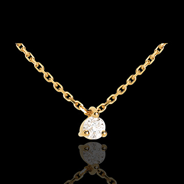 Collier solitaire or jaune 18 carats - 0.11 carat