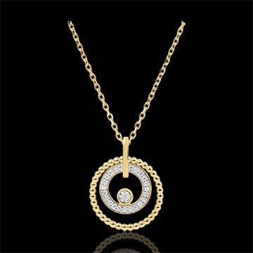 Collier Or Jaune 18 Carats Et Diamants Fleur De Sel Cercle Or
