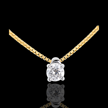 Collier solitaire or jaune 18 carats - 0.21 carat