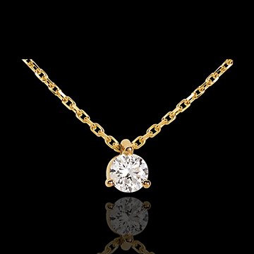 Collier solitaire or jaune 18 carats - 0.205 carat