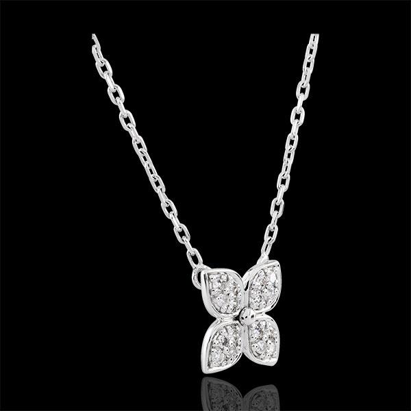 Collier Fleur d'éternité - 16 diamants - or blanc 9 carats