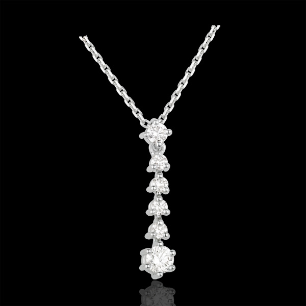 Collier Flocons or blanc 18 carats et diamants