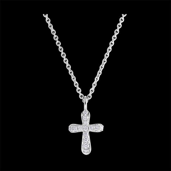 Collier Fraîcheur - Croix Diamantée - or blanc 18 carats et diamants