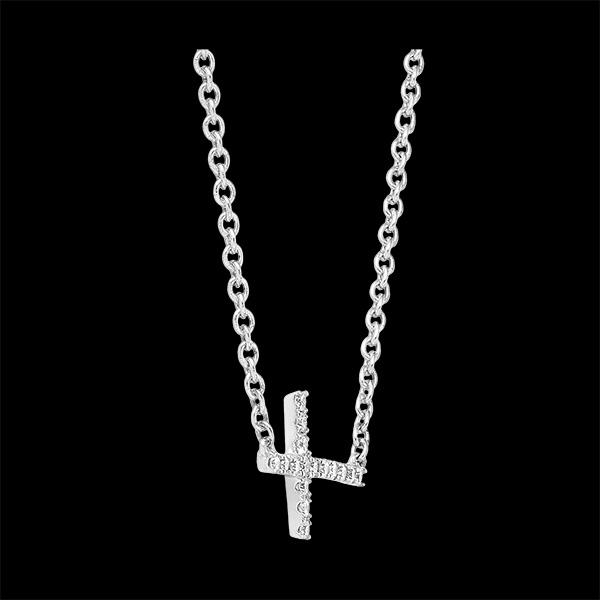 Collier Fraîcheur - Croix - or blanc 9 carats et diamants