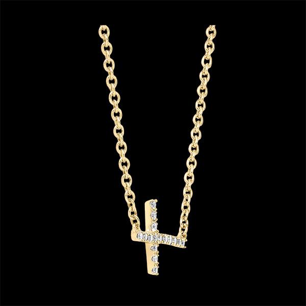 Collier Fraîcheur - Croix - or jaune 18 carats et diamants