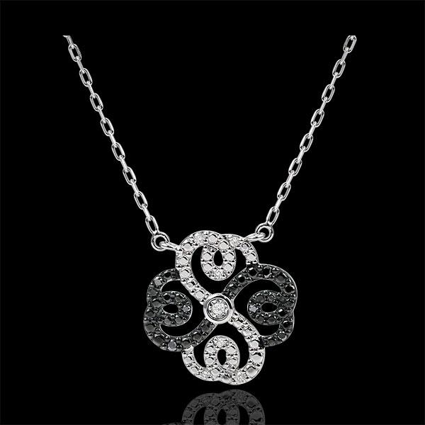 Collier Fraicheur - Trèfle Arabesque - or blanc 9 carats diamants blancs et diamants noirs