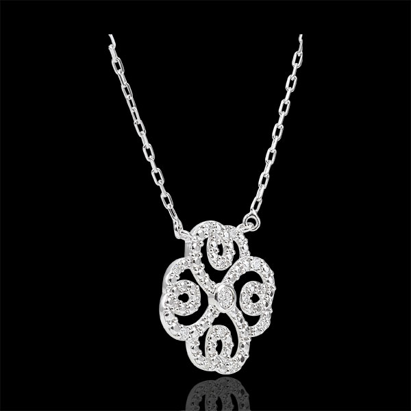 Collier Fraicheur - Trèfle Arabesque - or blanc 9 carats et diamants