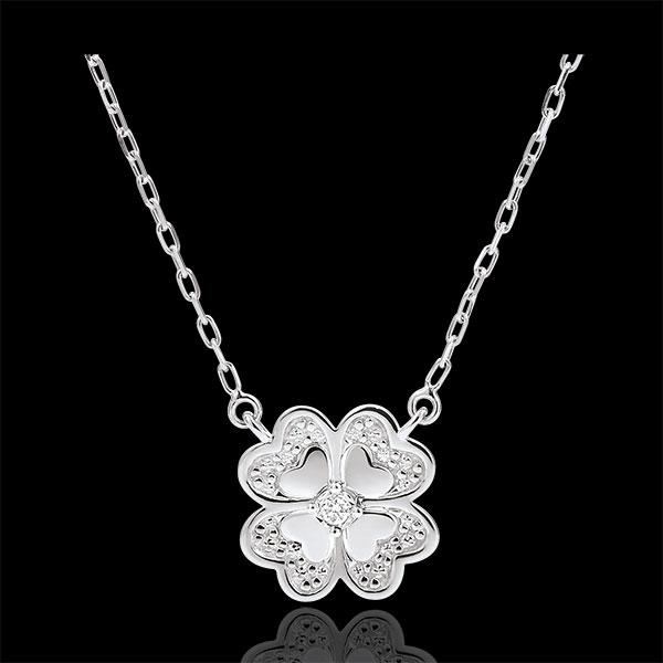 Collier Fraicheur - Trèfle Étincelant - or blanc 9 carats et diamants