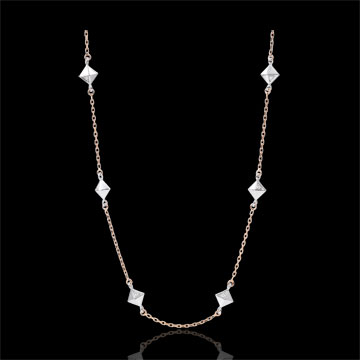Collier Génèse - Diamants Bruts - or blanc et or rose 18 carats