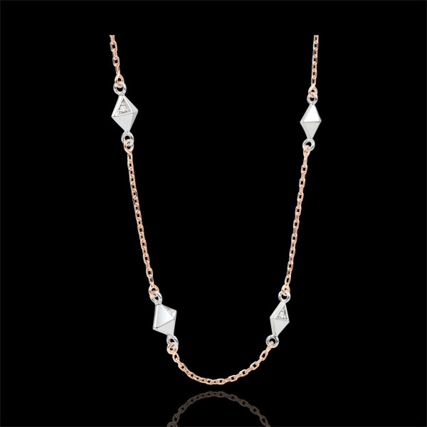 Collier Génèse - Diamants Bruts - or blanc et or rose 18 carats