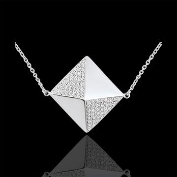 Collier Genèse - Sautoir Diamant brut or blanc 18 carats