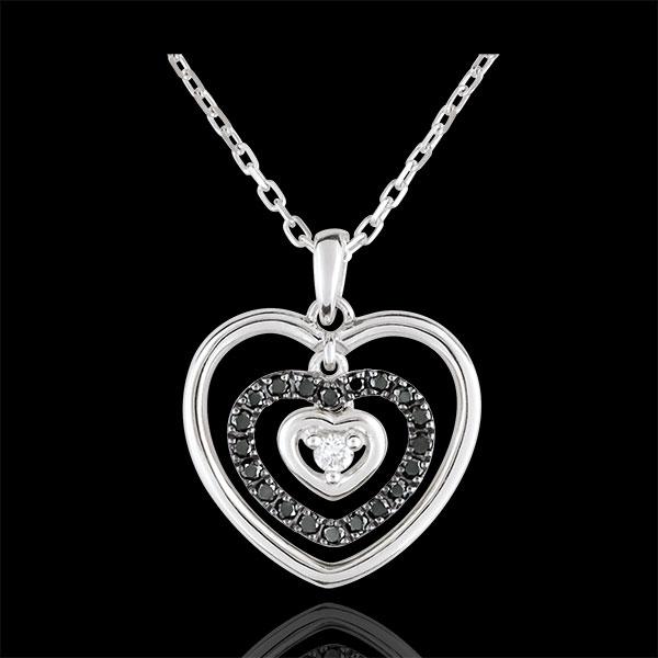 Collier Herz Orma Weißgold mit schwarzen Diamanten