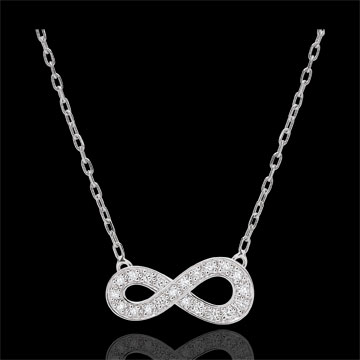 Collier Infini - or blanc 9 carats et diamants