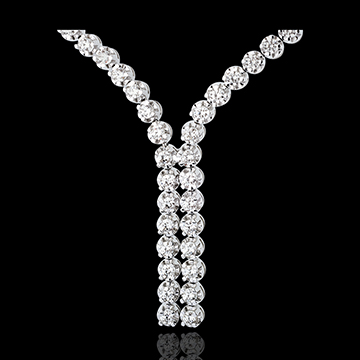 Collier Liaison diamants - 2.4 carats - 76 diamants - or blanc 18 carats