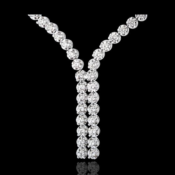 Collier Liaison diamants - 2.4 carats - 76 diamants - or blanc 9 carats