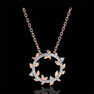Halskette Kranz Verzauberter Garten - Königliches Blattwerk - Roségold und Diamanten - 9 Karat