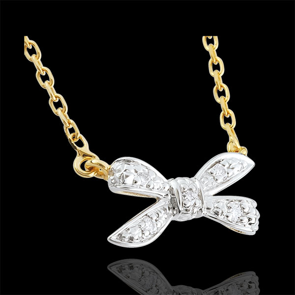 Collier Noeud Ma chérie or blanc et or jaune 9 carats