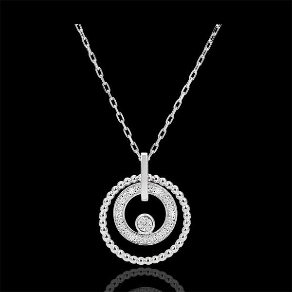 Collier or blanc 9 carats et diamants - Fleur de Sel - cercle - or blanc 9 carats