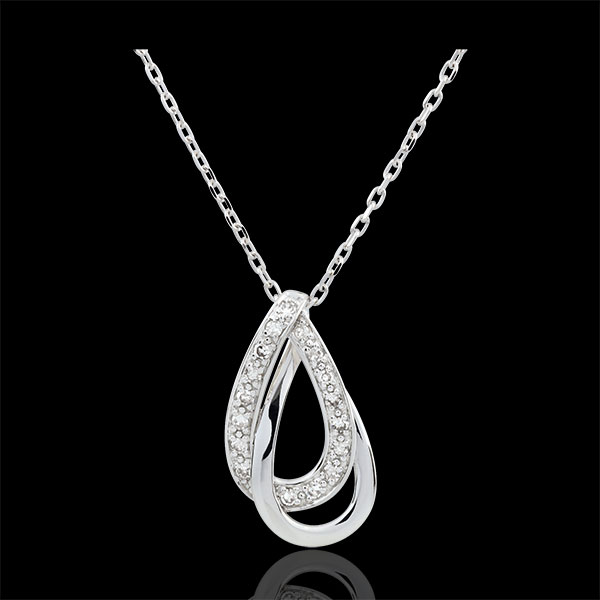 Collier or blanc 9 carats Glamour - 17 diamants