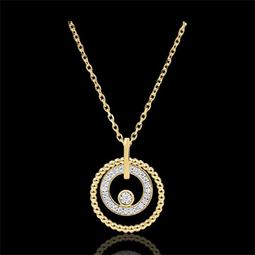 Collier or jaune 9 carats et diamants - Fleur de Sel - cercle - or jaune 9 carats