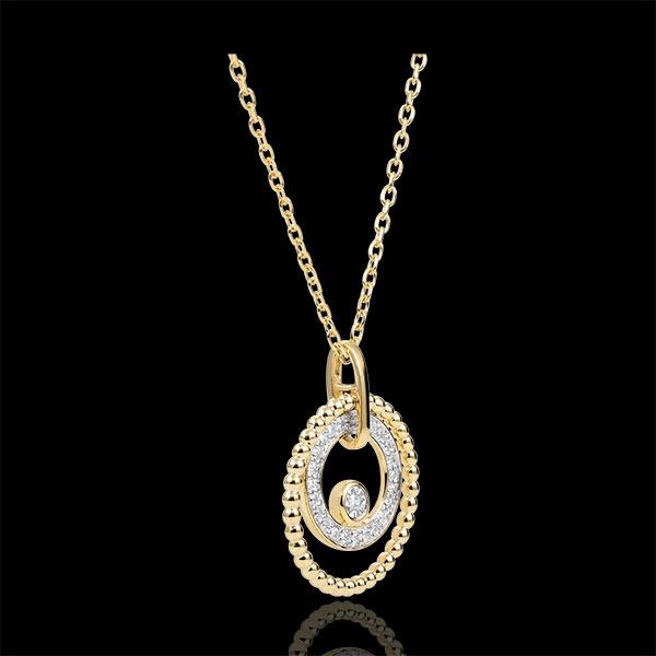 Collier or jaune 9 carats et diamants - Fleur de Sel - cercle - or jaune 9 carats