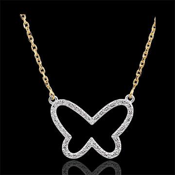 Collier Balade Imaginaire - Papillon Nuage - deux ors - or blanc et or jaune 9 carats