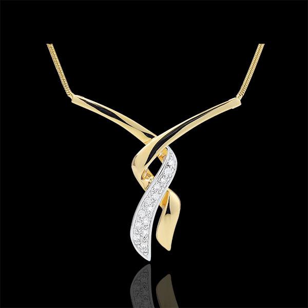 Collier pavé - Baiser du Guépard - 13 diamants - or blanc et or jaune 18 carats