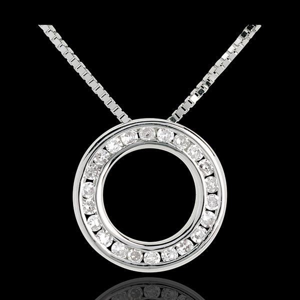 Collier Pendule Or Blanc 18 Carats Pavee 22 Diamants Bijoux Edenly