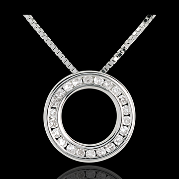 Collier pendule or blanc 9 carats pavée - 22 diamants - 45cm