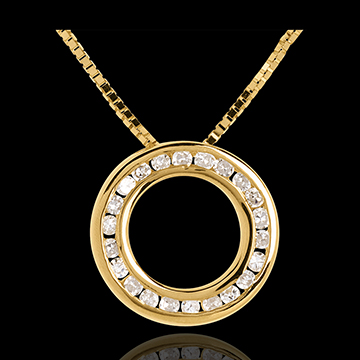 Collier pendule or jaune 18 carats pavée - 22 diamants
