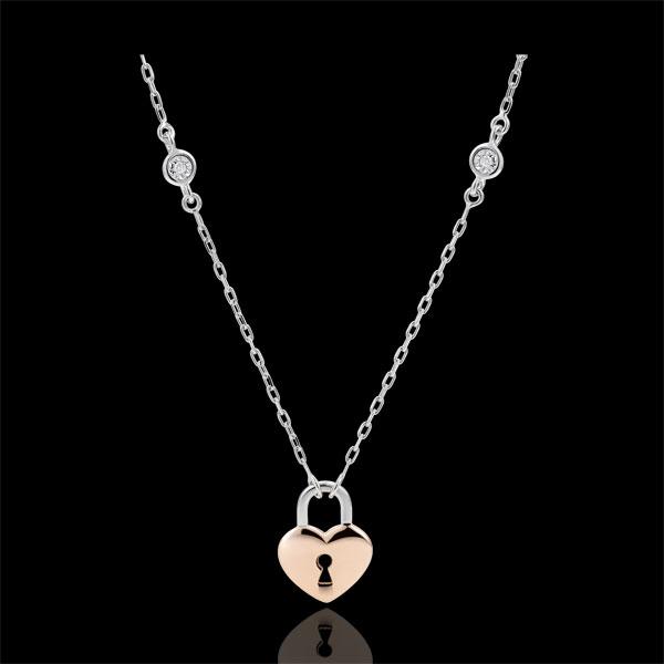 Collier Précieux Secret - Coeur - or blanc et or rose 9 carats