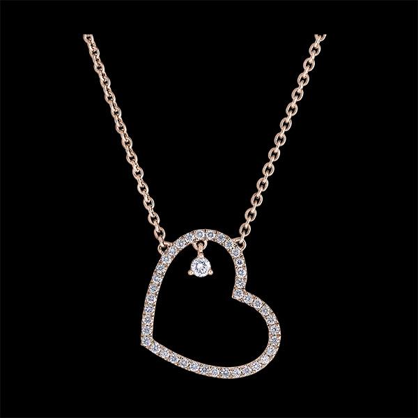 Collier Précieux Secret - Cœur Penché - or rose 9 carats et diamants