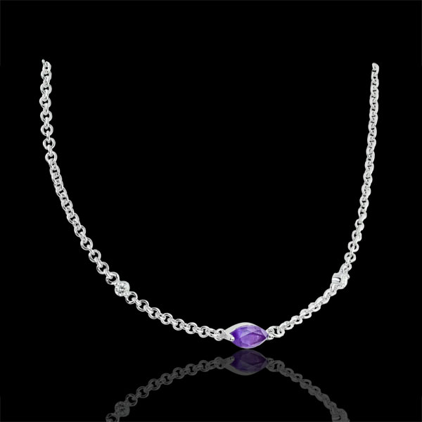 Collier Regard d'Orient - améthyste et diamants - or blanc 9 carats