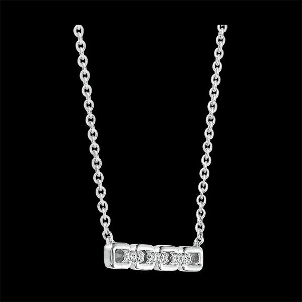 Collier Regard d'Orient - Maillon Cubain - or blanc 9 carats et diamants