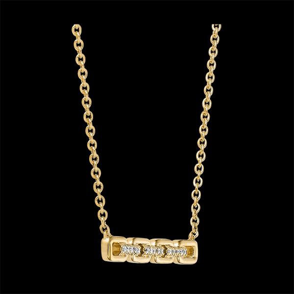 Collier Regard d'Orient - Maillon Cubain - or jaune 9 carats et diamants
