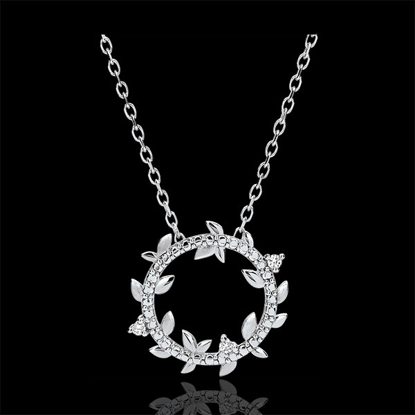 Collier rond Jardin Enchanté - Feuillage Royal - or blanc 9 carats et diamants
