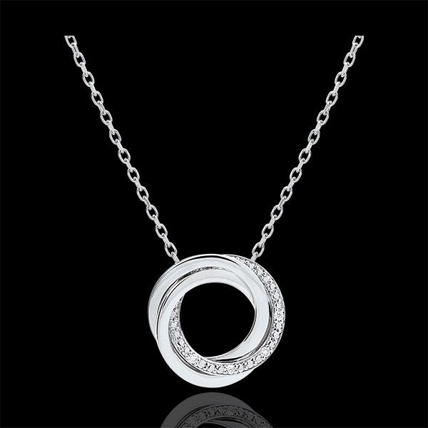 Collier Saturn - Weißgold und Diamanten - 9 Karat