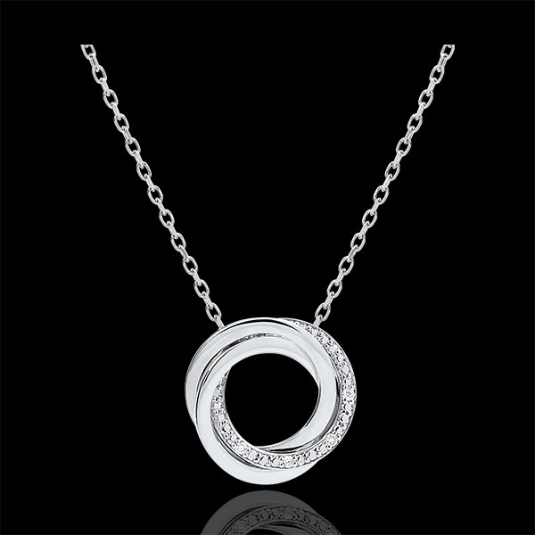Collier Saturne - or blanc 9 carats et diamants