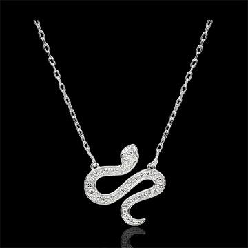 Collier Spaziergang der Sinne - Bezaubernde Schlange - Weißgold und schwarze Diamanten