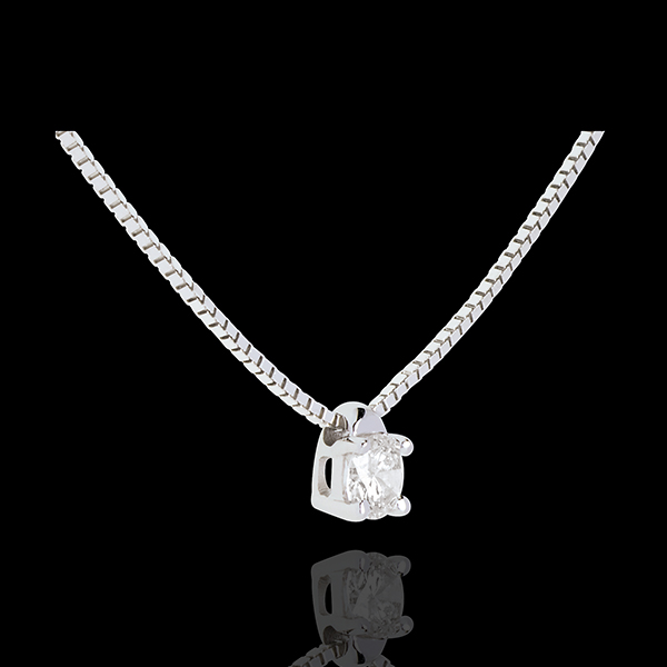 Collier solitaire or blanc 18 carats - 0.16 carat